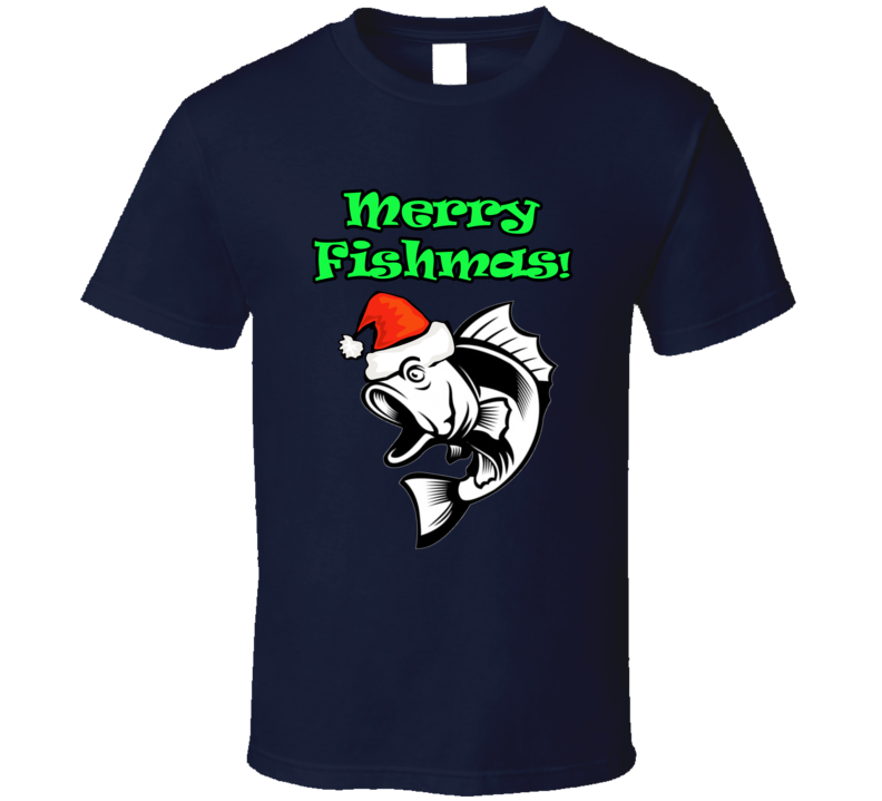Merry Fishmas Funny Fisherman Christmas  T Shirt