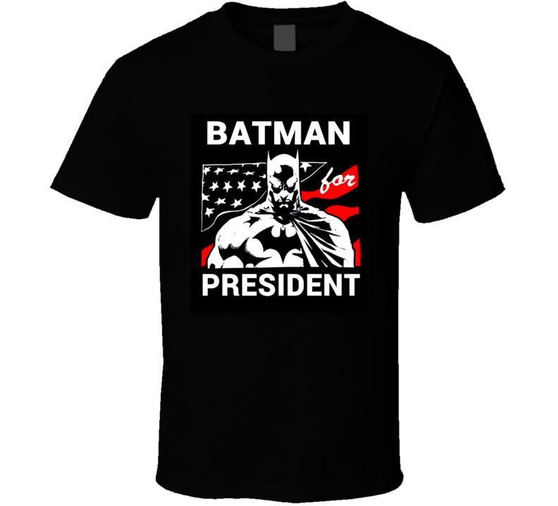 Batman for President t-shirt retro cartoon style TV cartoon batman Election pin C