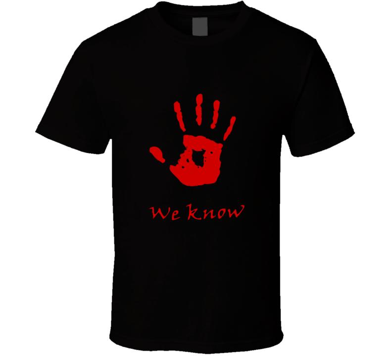 Dark Brotherhood we know t shirt Elder Scrolls Skyrim factions video game shirts