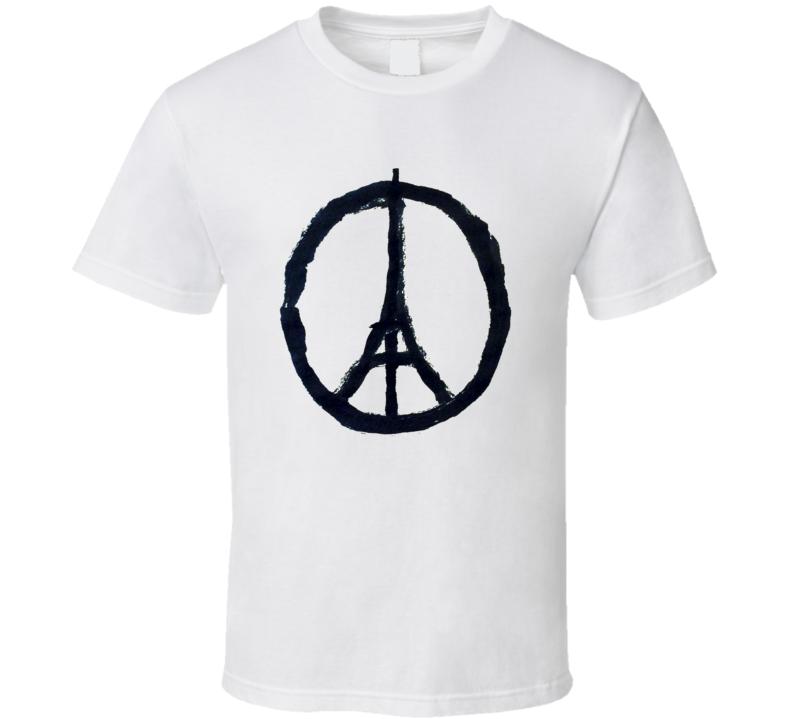 Paris Peace symbol Eiffel Tower Solidarity France T shirt
