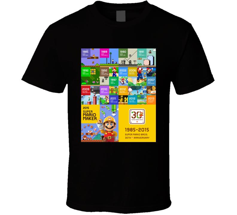 super mario bros 50 anniversary games t shirt