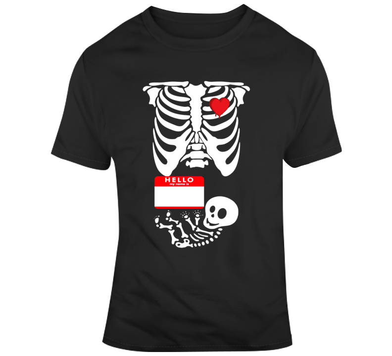Pregnant Skeleton Scary Halloween Costume Custom Text Put Your Text Here T Shirt
