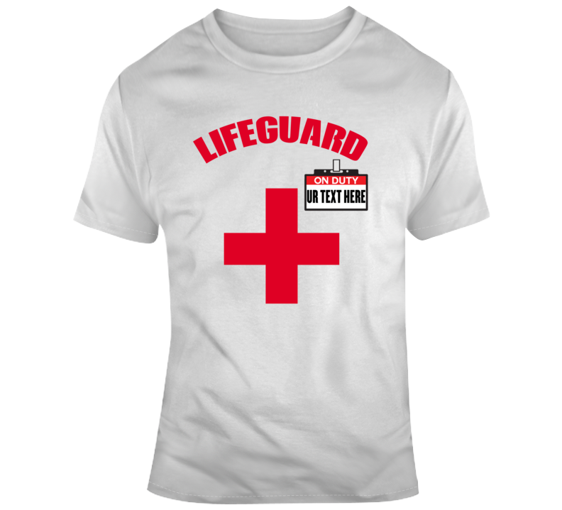Life Guard On Duty Scary Halloween Costume Custom Text Put Your Text Here T Shirt