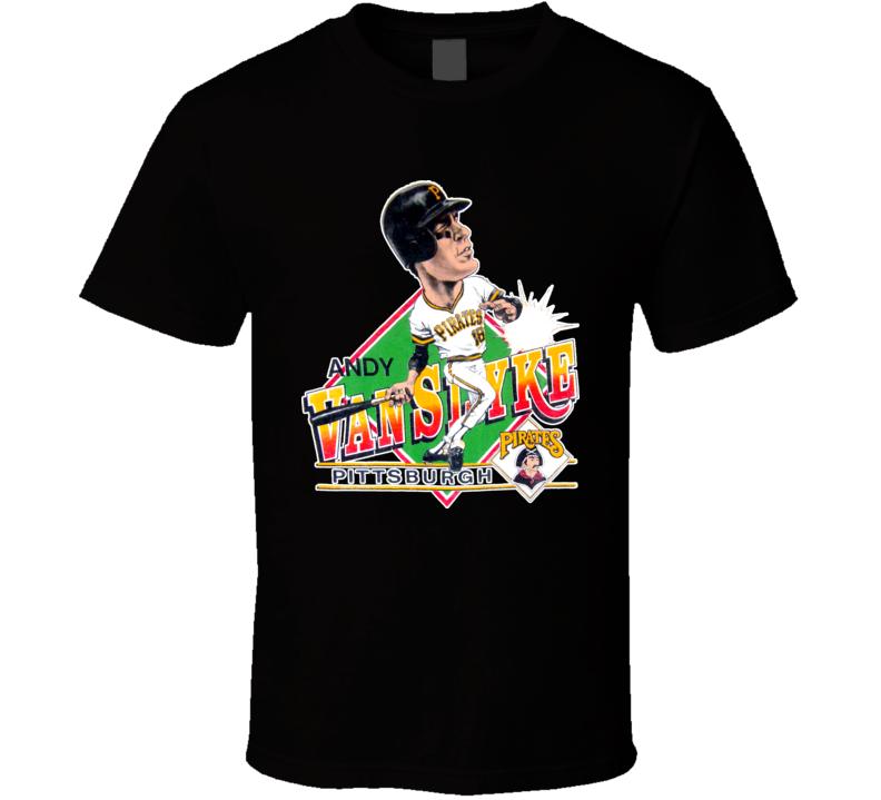 Andy Van Slyke Retro Baseball Caricature T Shirt
