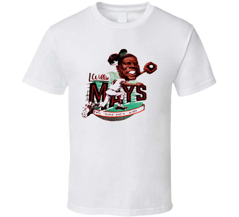 Willie Mays Retro Baseball Caricature T Shirt