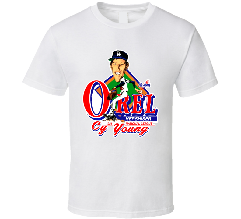 Orel Hershiser Retro Baseball Caricature T Shirt