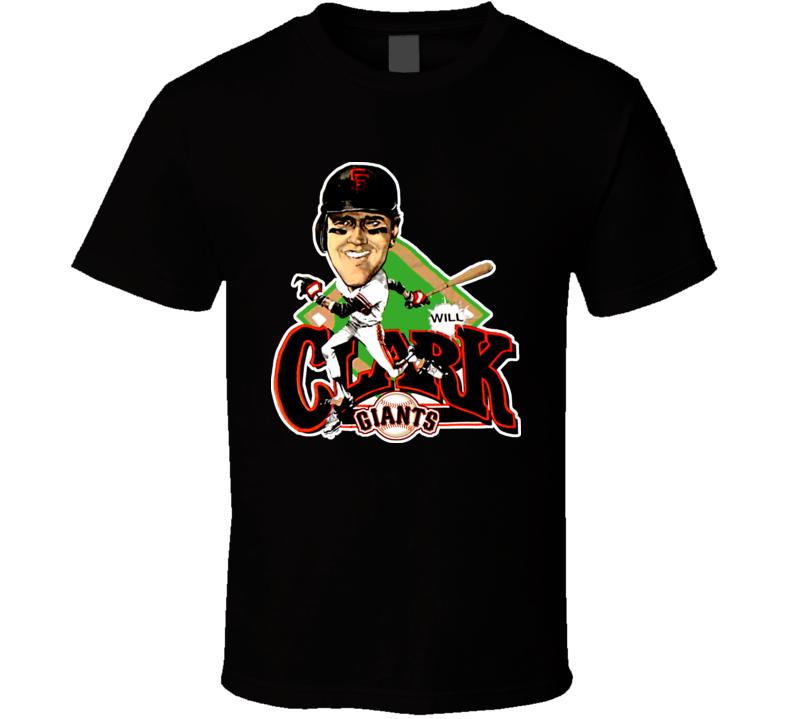 Will Clark Retro Baseball Caricature T Shirt