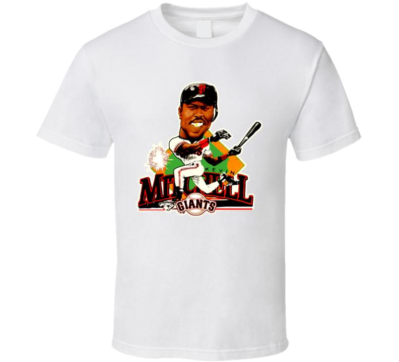 Kevin Mitchell Retro Baseball Caricature T Shirt