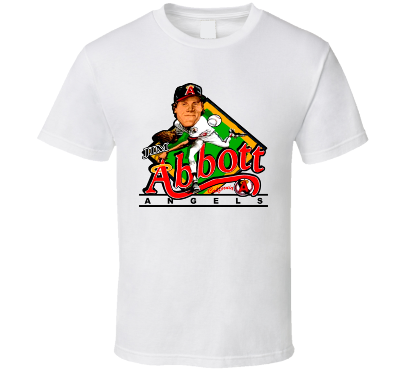 Jim Abbott Retro Baseball Caricature T Shirt