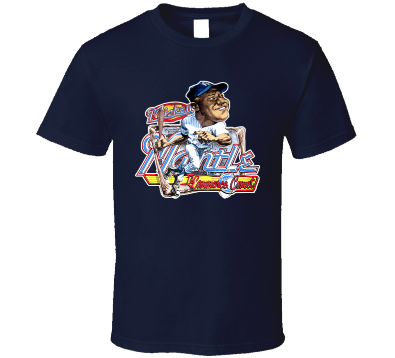 Mickey Mantle Retro Baseball Caricature T Shirt