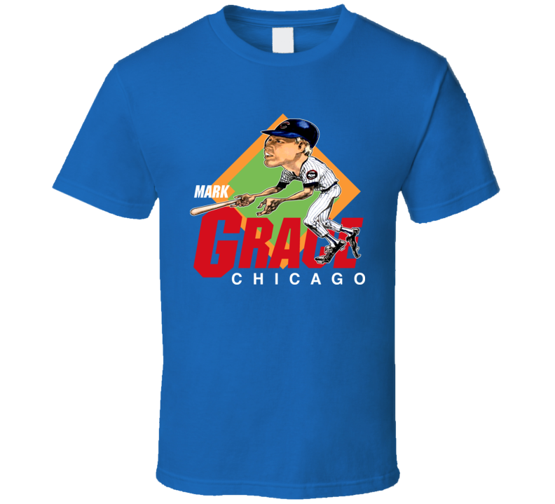 Mark Grace Retro Baseball Caricature T Shirt