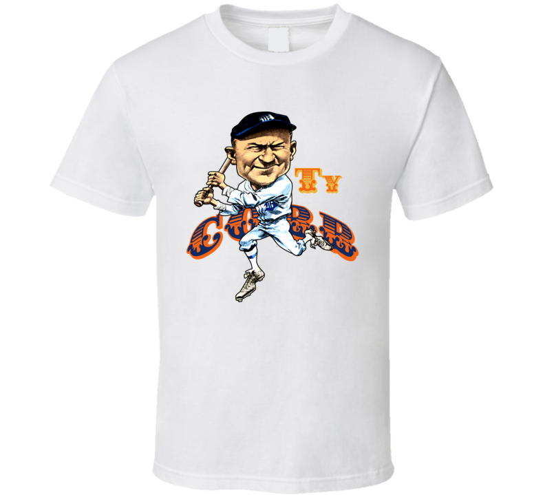 Ty Cobb Retro Baseball Caricature T Shirt