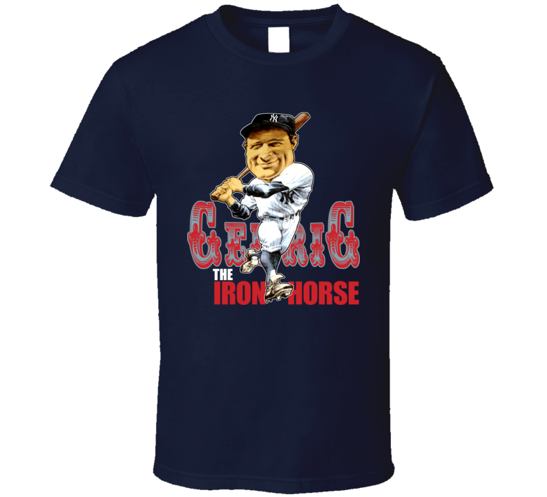 Lou Gehrig Retro Baseball Caricature T Shirt