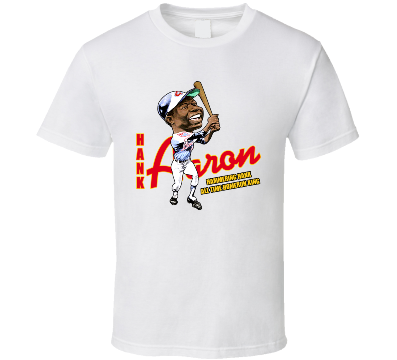Hank Aaron Retro Baseball Caricature T Shirt