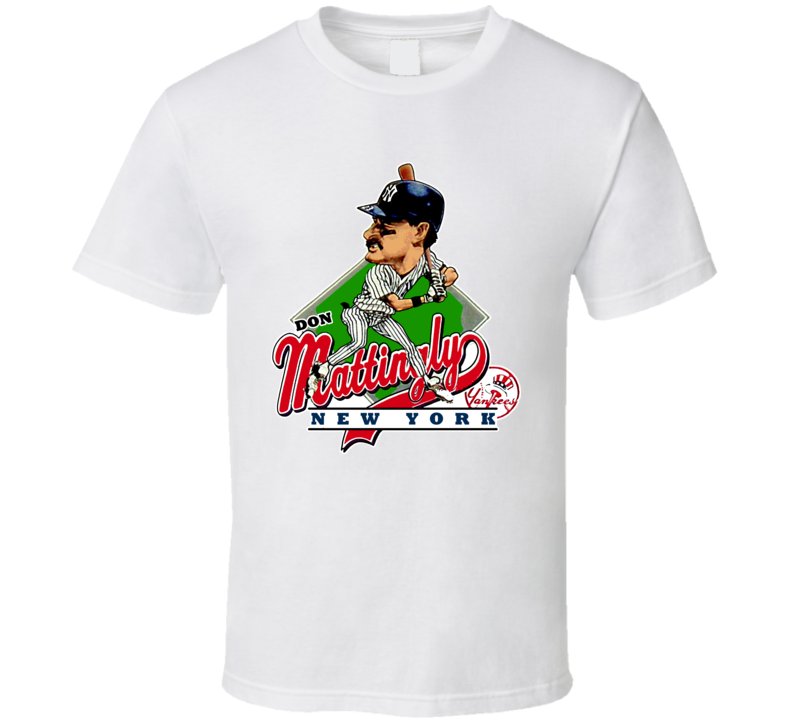 Don Mattingly Retro Baseball Caricature T Shirt