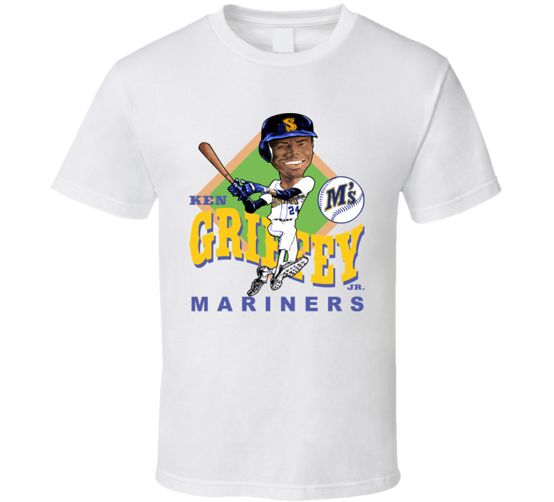 Ken Griffey Jr Retro Baseball Caricature T Shirt