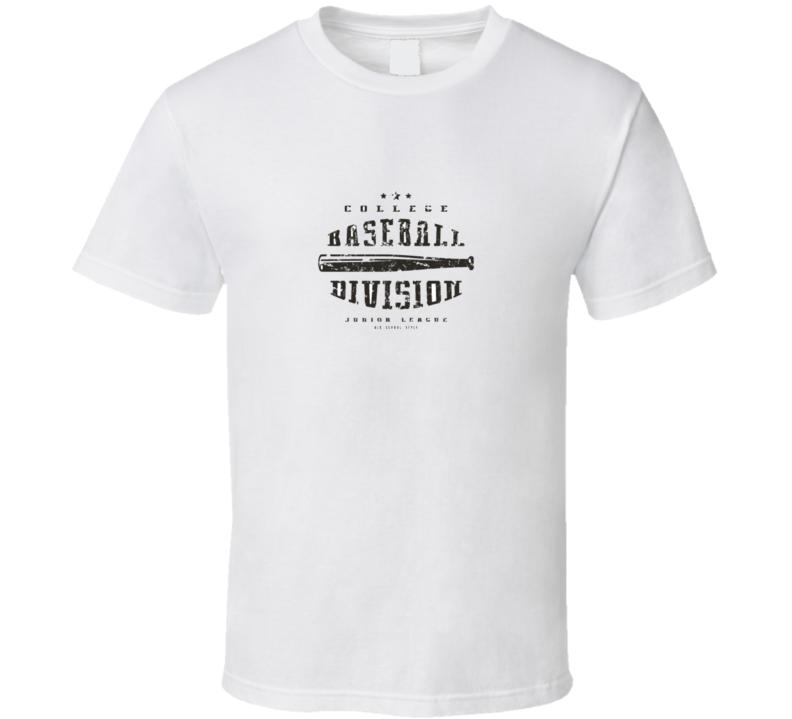 Emblem Baseball Division Graphic Design For T-shirt Black Print On White T Shirt