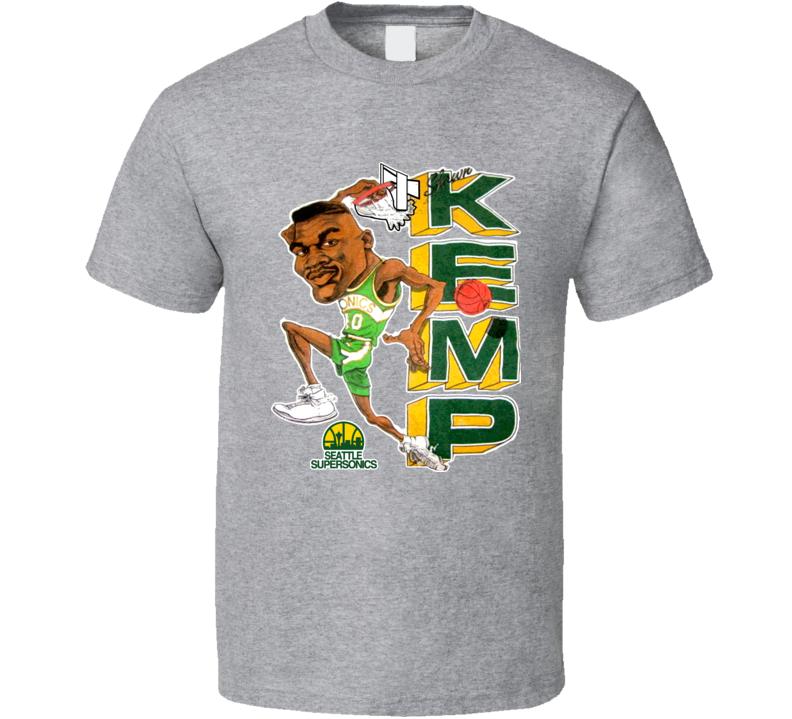 Shawn Kemp Seattle Retro Basketball Caricature T Shirt
