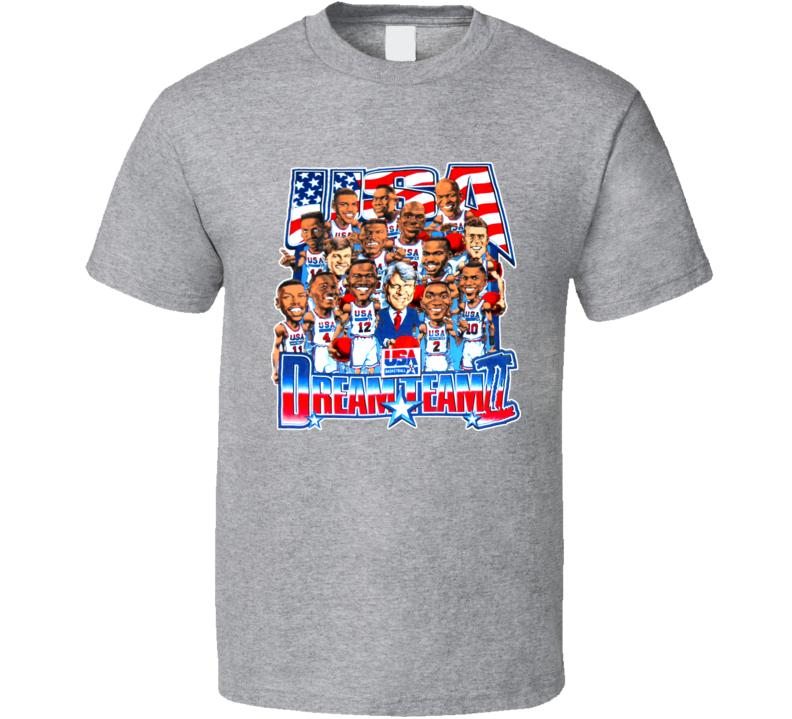 Dream Team 2 USA Basketball Caricature T Shirt