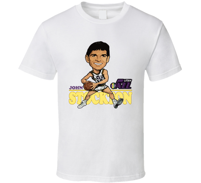 John Stockton Retro Basketball Caricature T Shirt