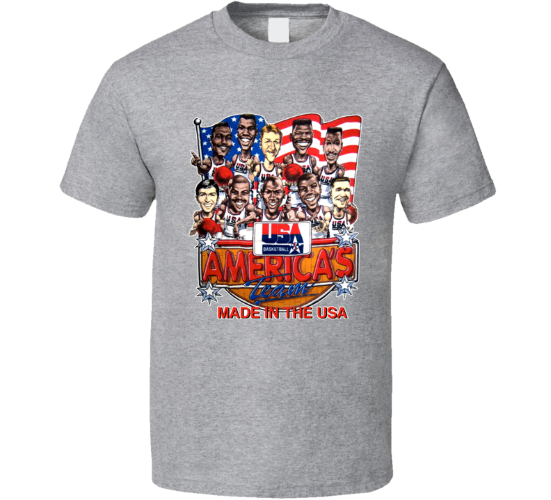 Usa Basketball 1992 Dream Team Caricature T Shirt  - Grey
