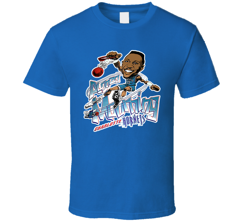 Alonzo Mourning Retro Basketball Caricature T Shirt