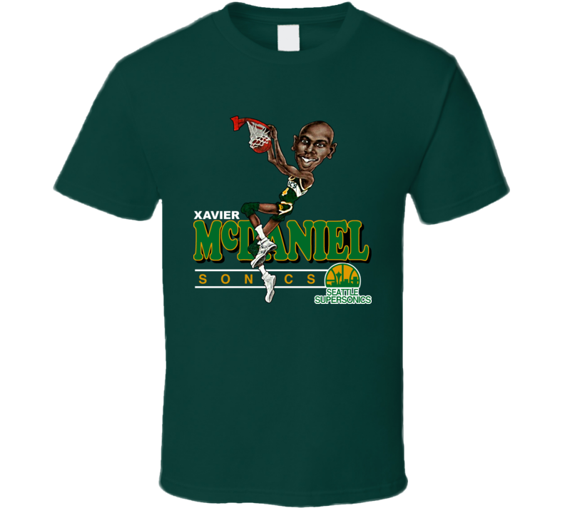 Xavier McDaniel Retro Basketball Caricature T Shirt