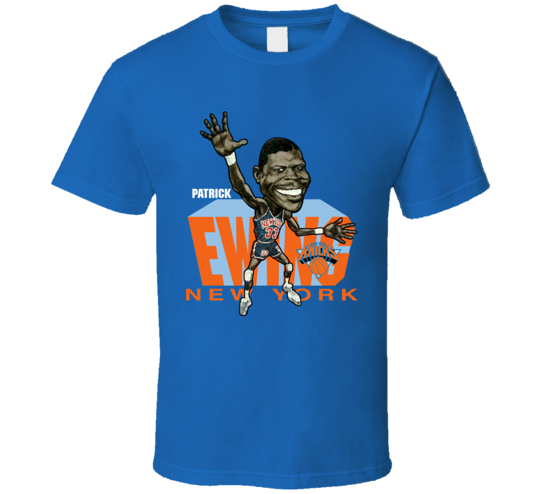 Patrick Ewing Retro Basketball Caricature T Shirt
