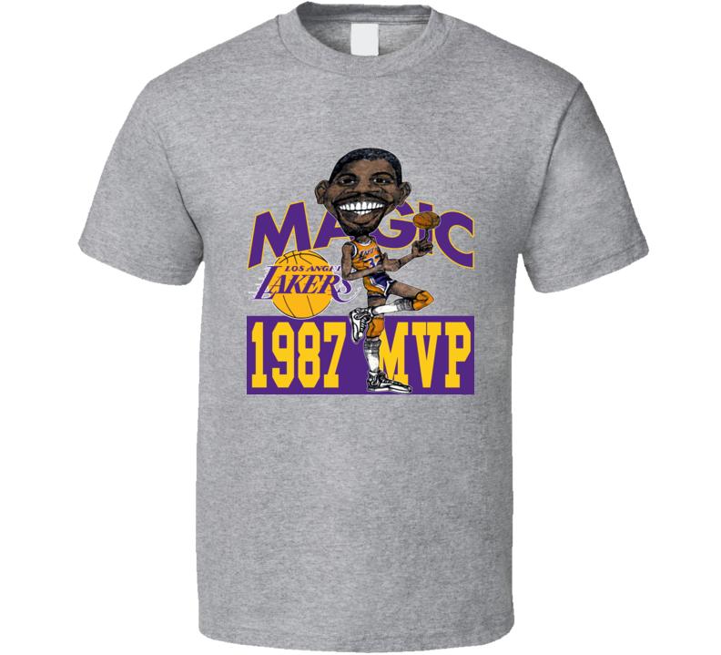 Magic Johnson 1987 Mvp Retro Basketball Caricature T Shirt