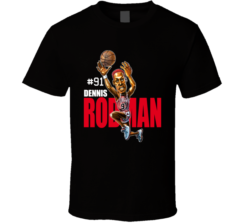 Dennis Rodman Retro Basketball Caricature T Shirt