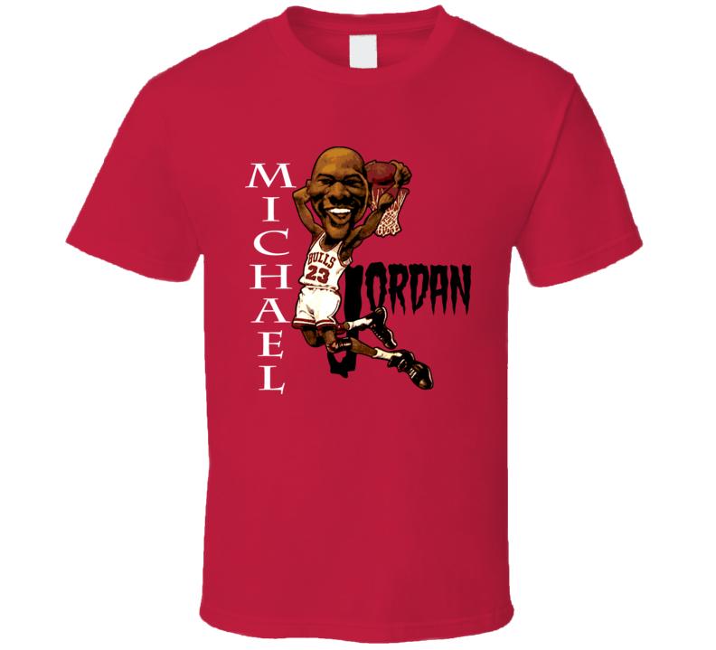 Michael Jordan Retro Basketball Caricature T Shirt