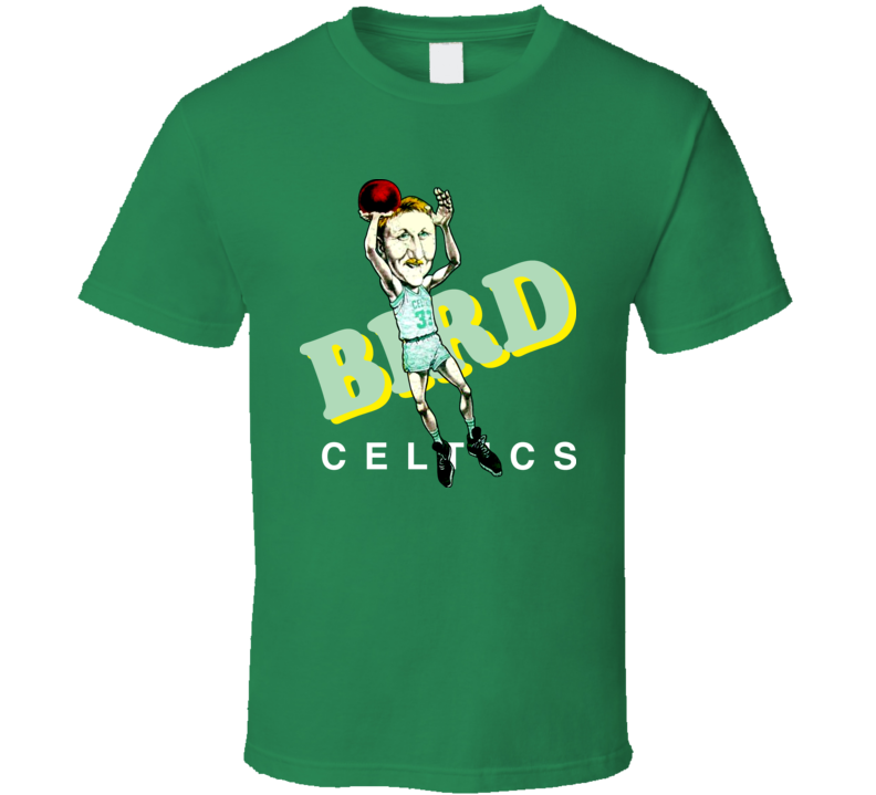 Larry Bird Retro Basketball Caricature T Shirt