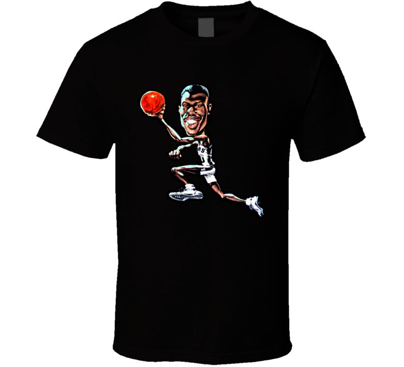 David Robinson Retro Basketball Caricature T Shirt