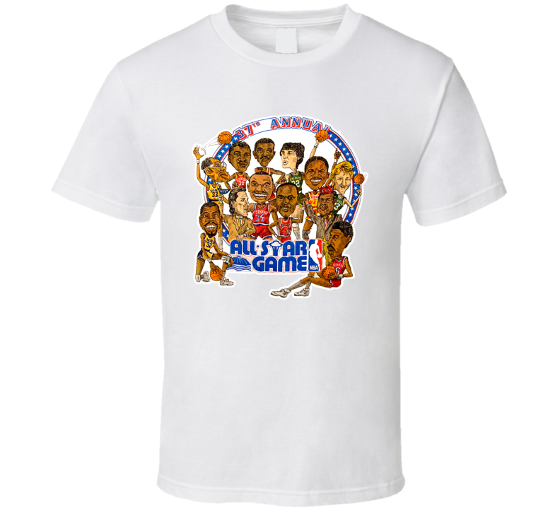 1987 Basketball All Star Caricature T Shirt