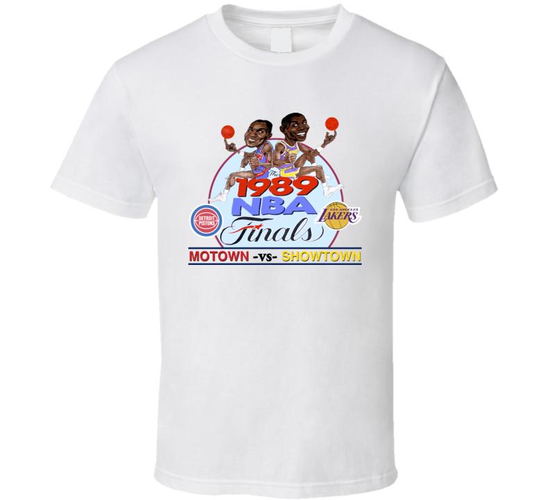 Magic Johnson Isiah Thomas 1989 Finals Caricature T Shirt