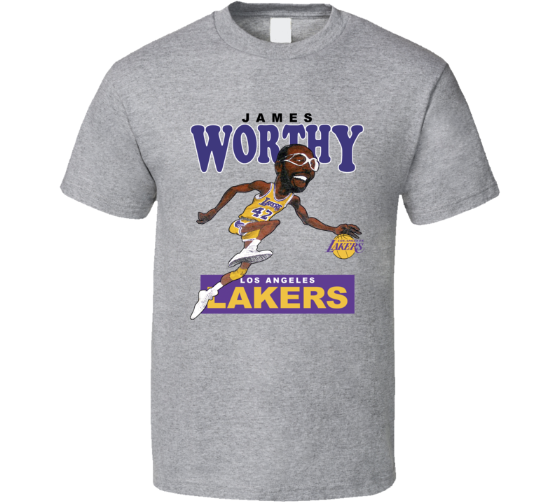 James Worthy Retro Basketball Caricature T Shirt