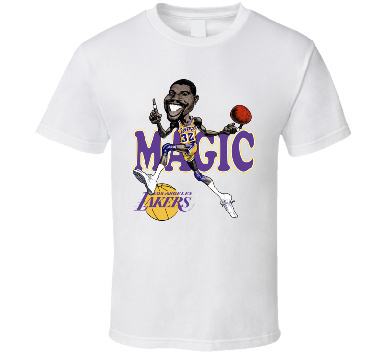 Magic Johnson Retro Basketball Caricature T Shirt