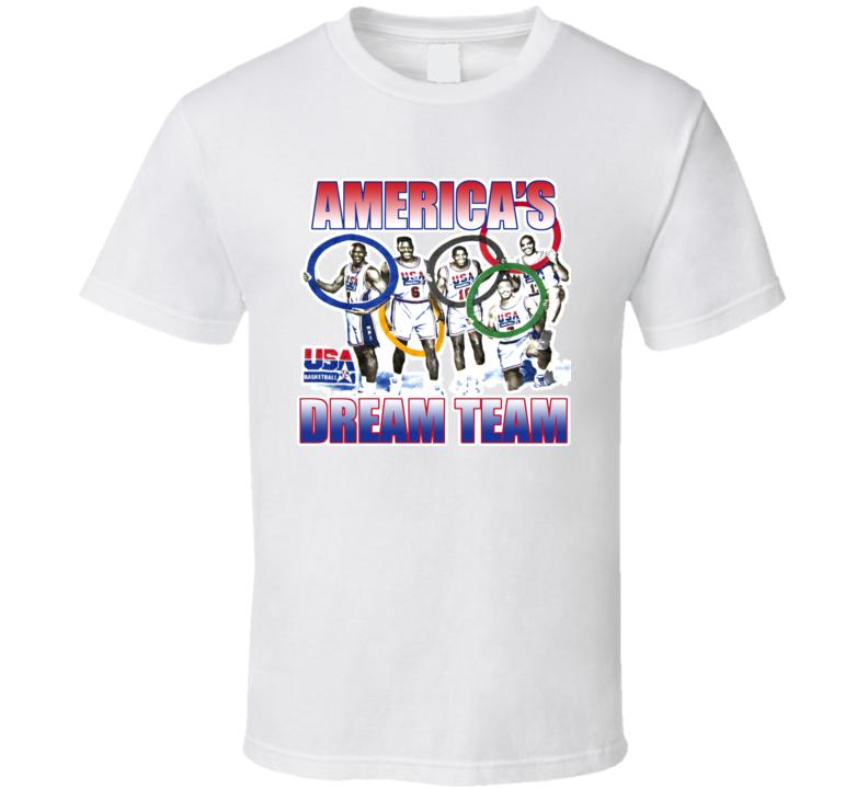 USA Dream Team Barkley Jordan Ewing Basketball T Shirt