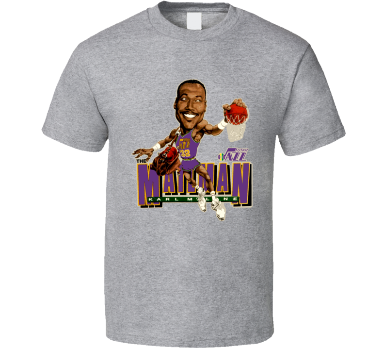 Karl Malone Retro Basketball Caricature T Shirt