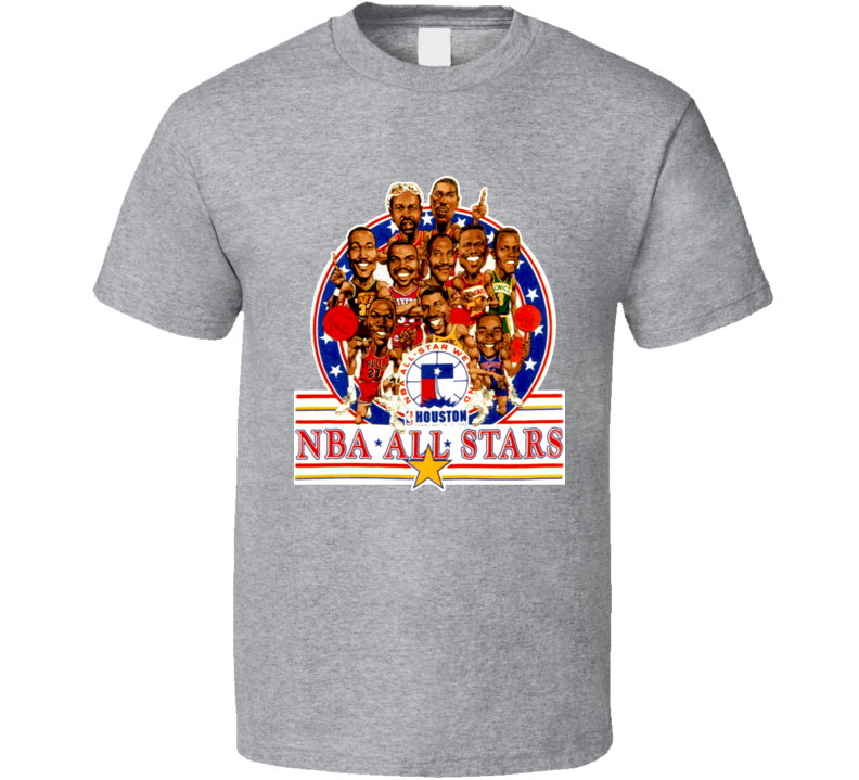 1989 Basketball All Star Game Caricature T Shirt