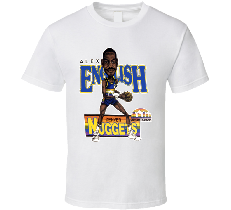 Alex English Retro Basketball Caricature T Shirt