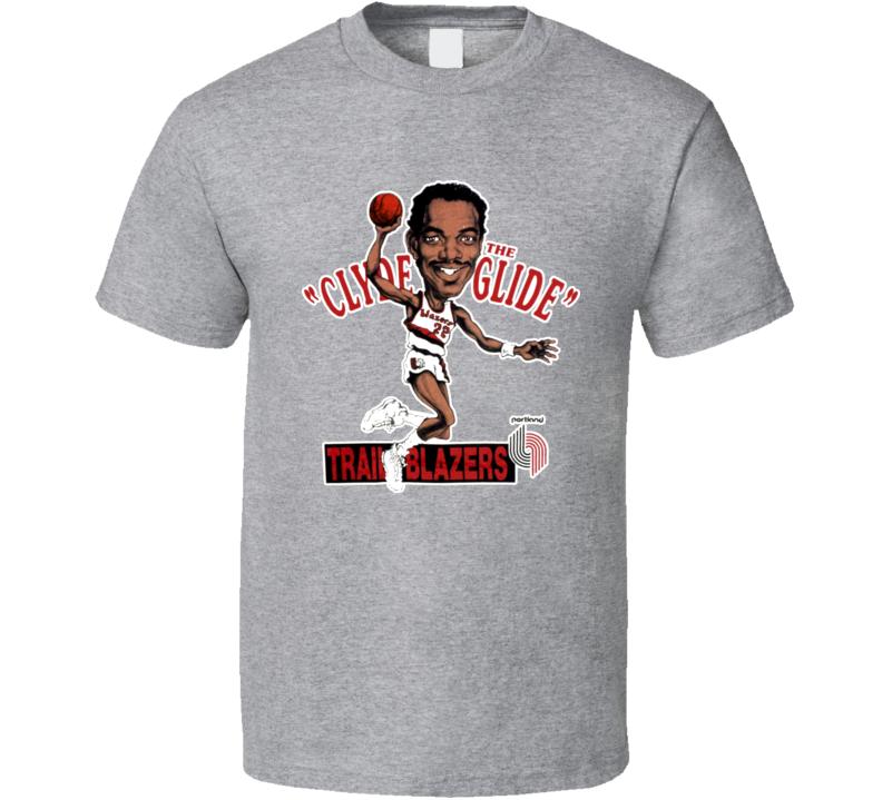 Clyde Drexler Retro Basketball Caricature T Shirt