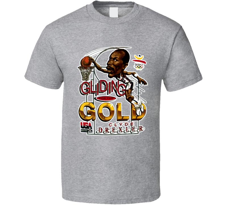 Clyde Drexler USA Basketball Caricature T Shirt