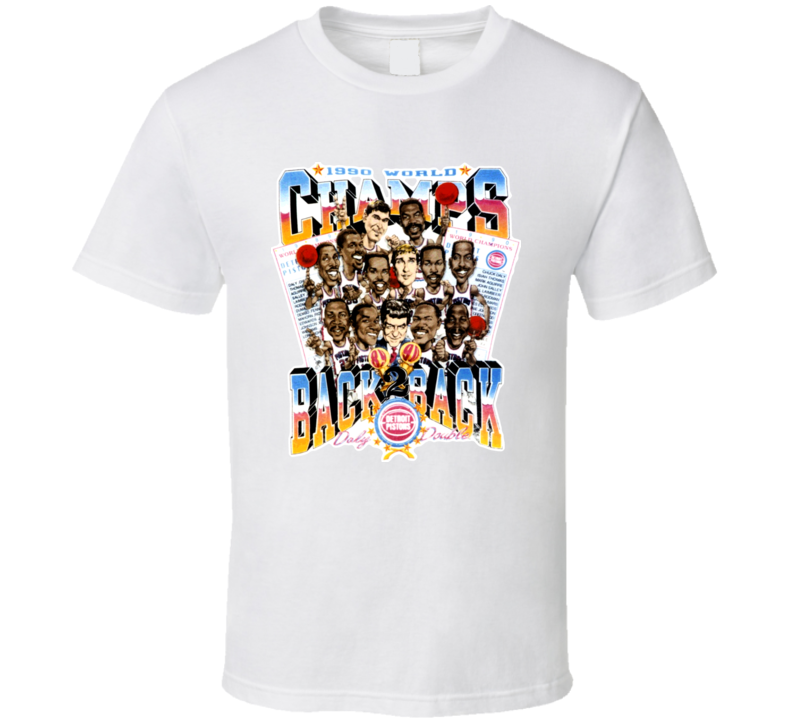 Detroit Basketball Back To Back Champs Caricature T Shirt