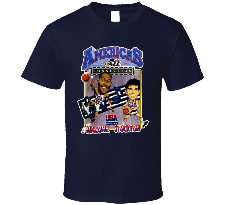 USA Basketball Stockton Malone Caricature T Shirt
