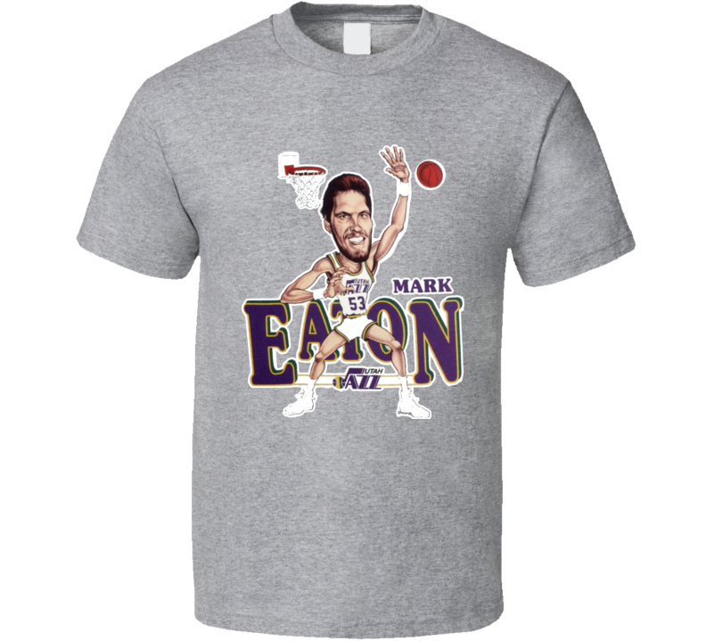 Mark Eaton Retro Basketball Caricature T Shirt