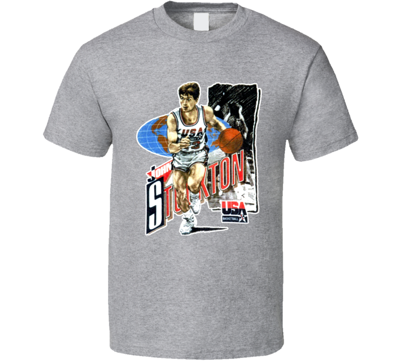John Stockton USA Basketball Caricature T Shirt