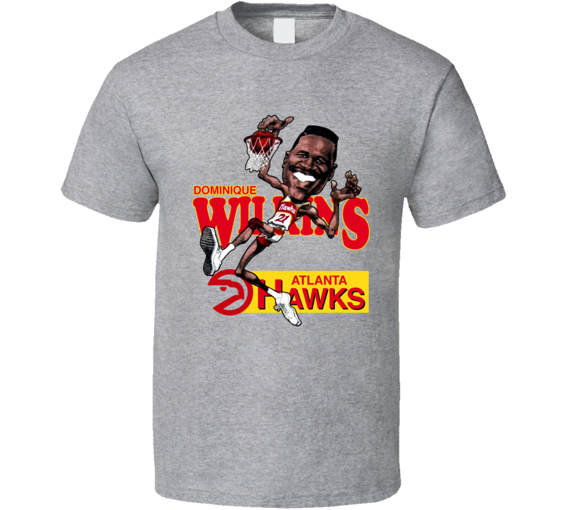 Dominique Wilkins Retro Basketball Caricature T Shirt