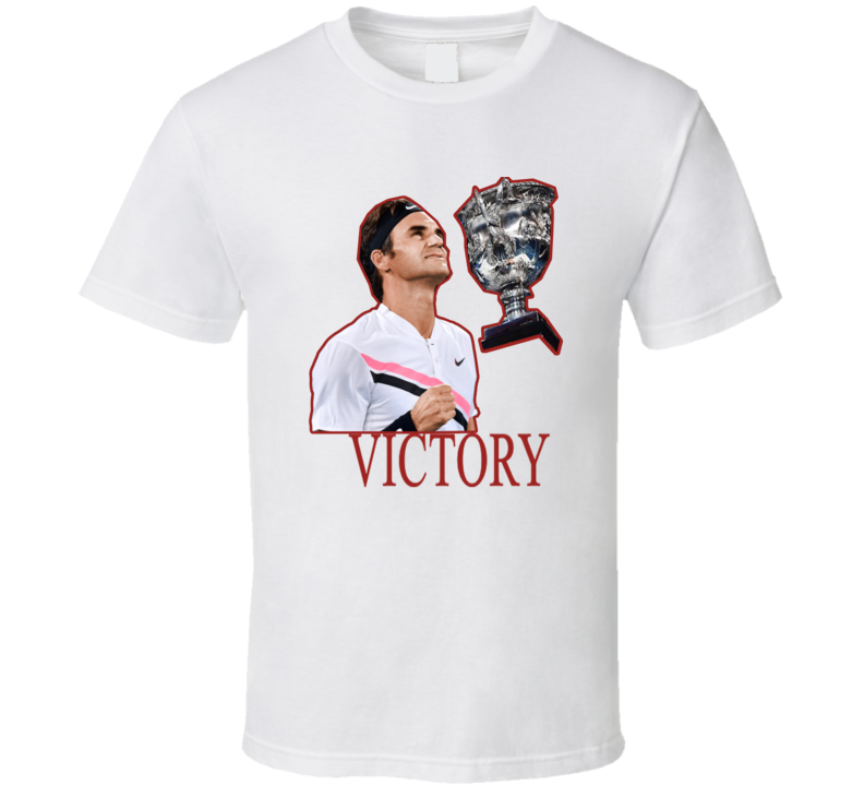 Roger Federer 20th Grandslam Mens Record Tennis Austalian Open T Shirt_mens Fitted_white_tennis T Shirt