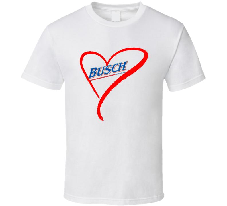 I Love Heart Busch Beer Summer Party BBQ T Shirt